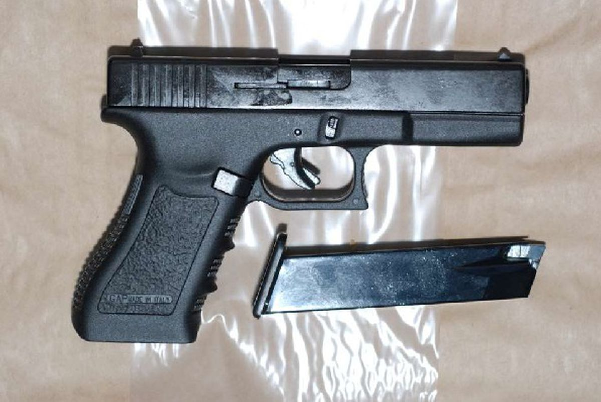 A handgun connected to Uddin's conviction for conspiracy to supply firearms