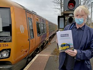 Andy Cope with his new book about life on the railways at Stourbridge Junction close to where he grew up