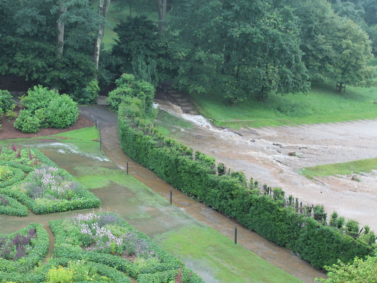 Flooding in the garden at Lyme Park, Cheshire