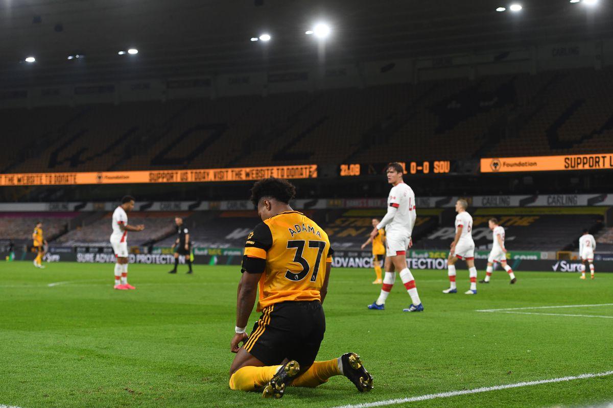Adama Traore of Wolverhampton Wanderers reacts (AMA)