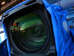 Close up view of a SKY TV / Television camera lens (AMA)