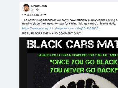 'Black Cars Matter' advert deemed 'socially irresponsible' by regulator