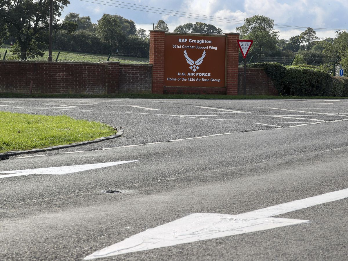 The entrance to RAF Croughton in Northamptonshire