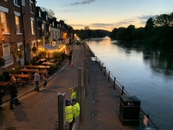 Flood barriers go up in Bewdley after heavy rain causes River Severn to rise