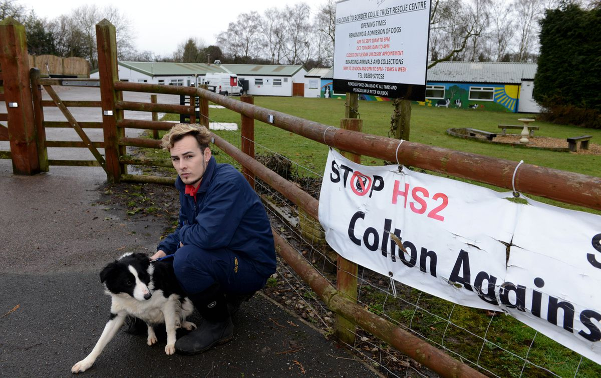 The Border Collie Trust Rescue Centre near Rugeley which have to move location because of the building of HS2 going through their land. Aaron Wootton -Smith with Fern..
