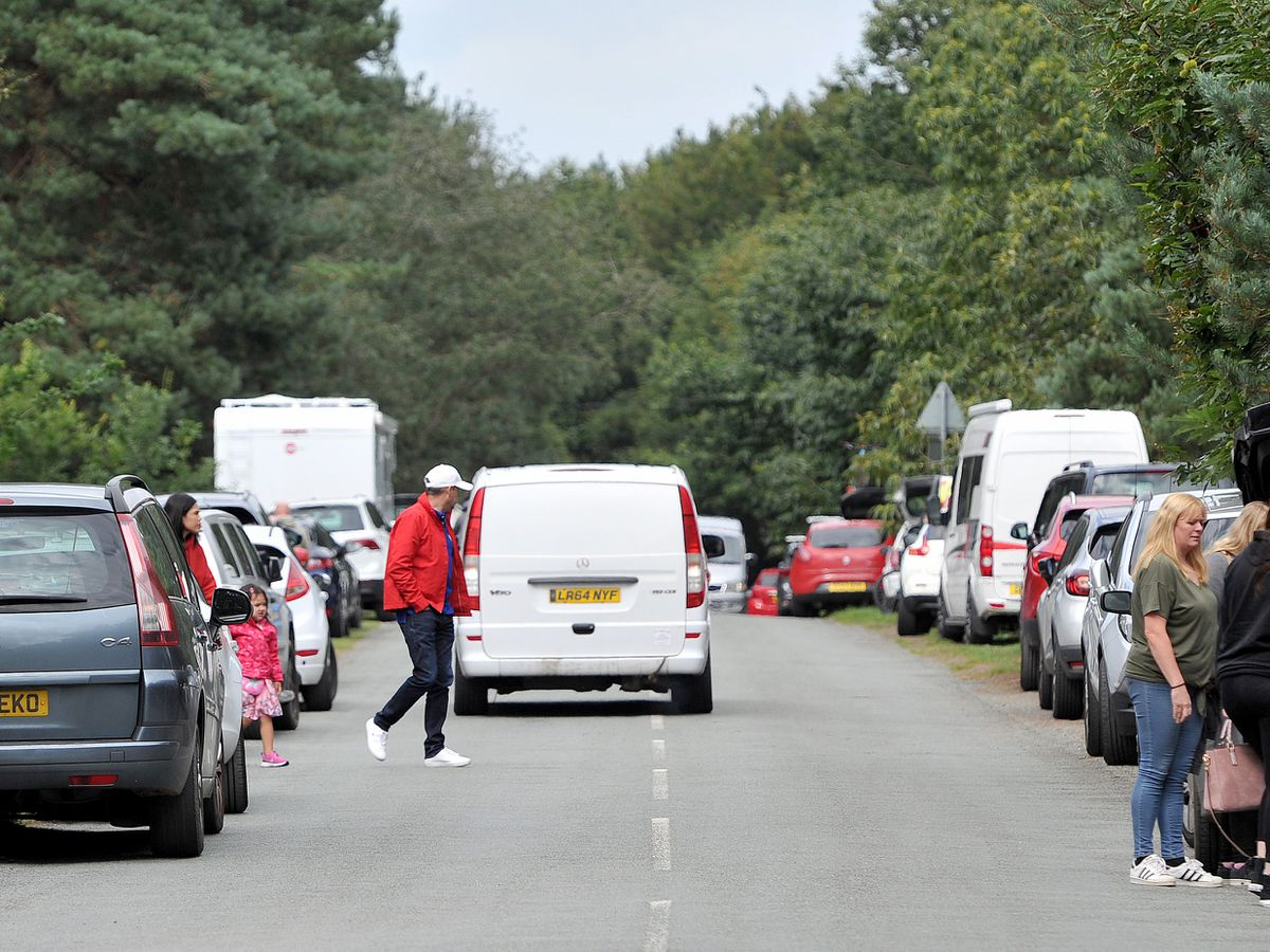 The road near Cannock Chase visitor centre, which was packed full of cars over the bank holiday weekend