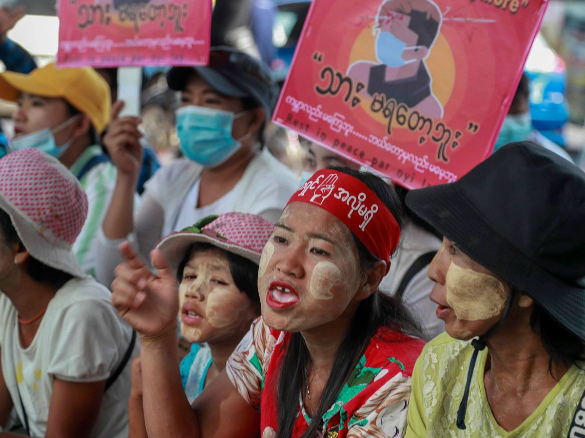Anti-coup protesters in Myanmar