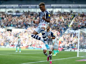 Grady Diangana of West Bromwich Albion celebrates after scoring a goal to make it 3-1. (AMA)