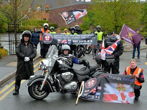 STAFFORDSHIRE COPYRIGHT EXPRESS AND STAR STEVE LEATH 08/05/2021..Pic in Lichfield of a protest bike ride out, in rsult of Soldiers being criminalised over there duty in Ireland. Front L-R: Bob Sedgwick, John Fitzmaurice (Veteran) and Alan Rowley (Veteran) and Organiser: Becky Gill..