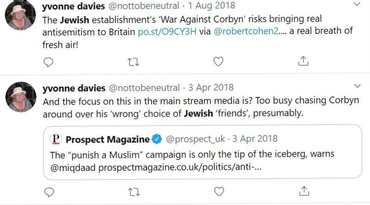 Tweets posted by Councillor Davies in 2018.