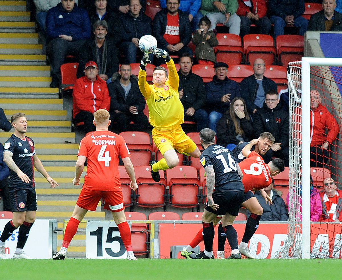 Liam Roberts in action against Leyton Orient