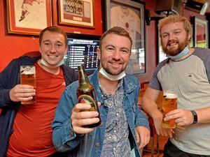 Ryan Turner, Jake Aston and Josh Matthews enjoy a breakfast drink at Bar Sport in Cannock.