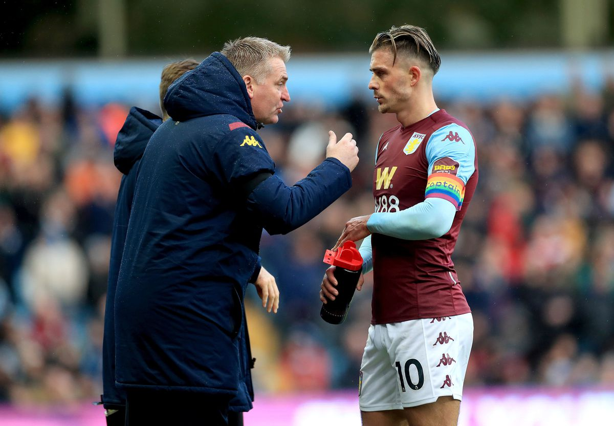 Aston Villa's manager Dean Smith gives instructions to Jack Grealish