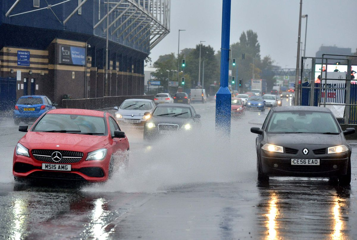 Wet roads outside The Hawthorns during the rainy weather