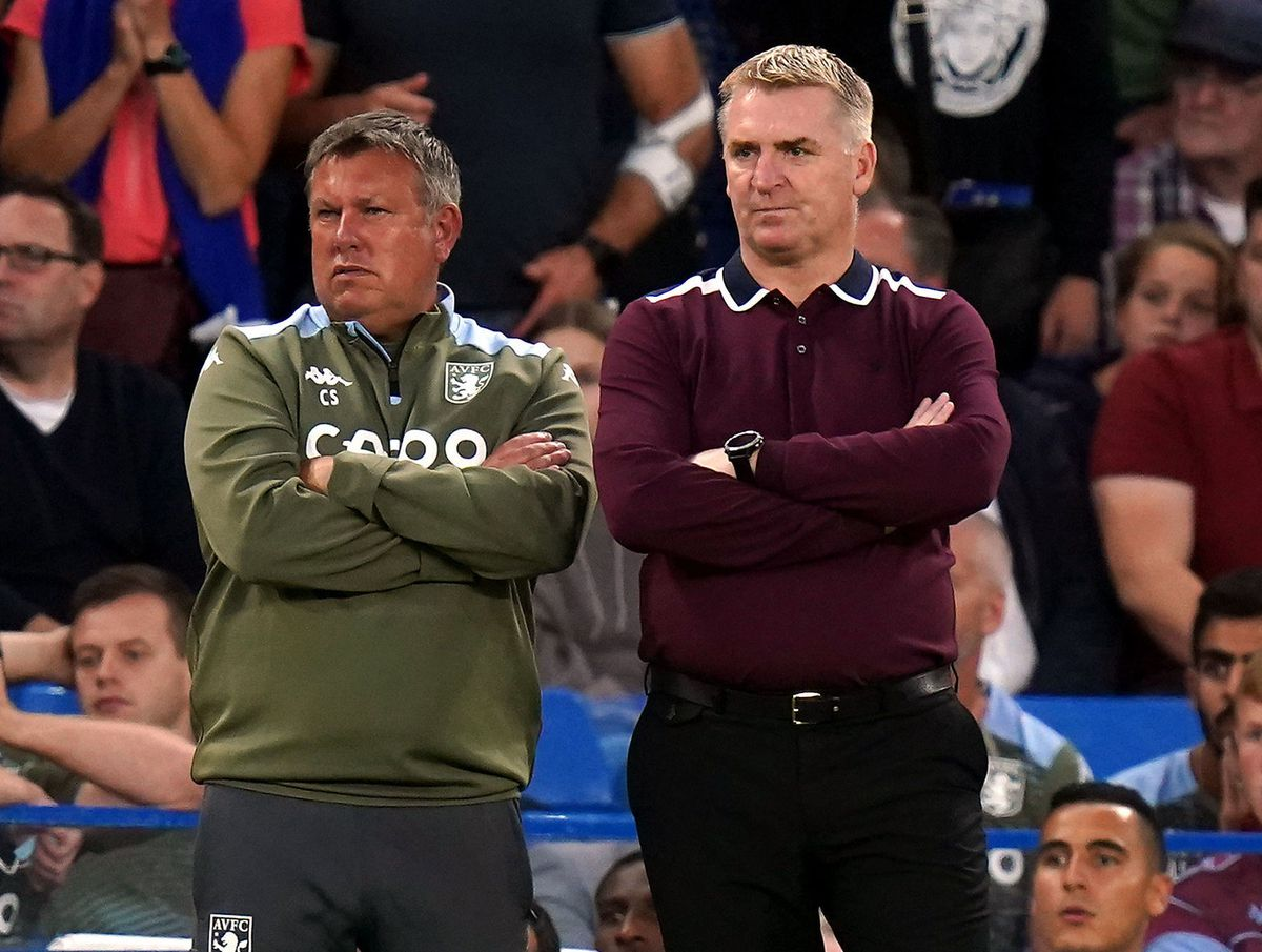 Aston Villa manager Dean Smith (right) and assistant Craig Shakespeare on the touchline
