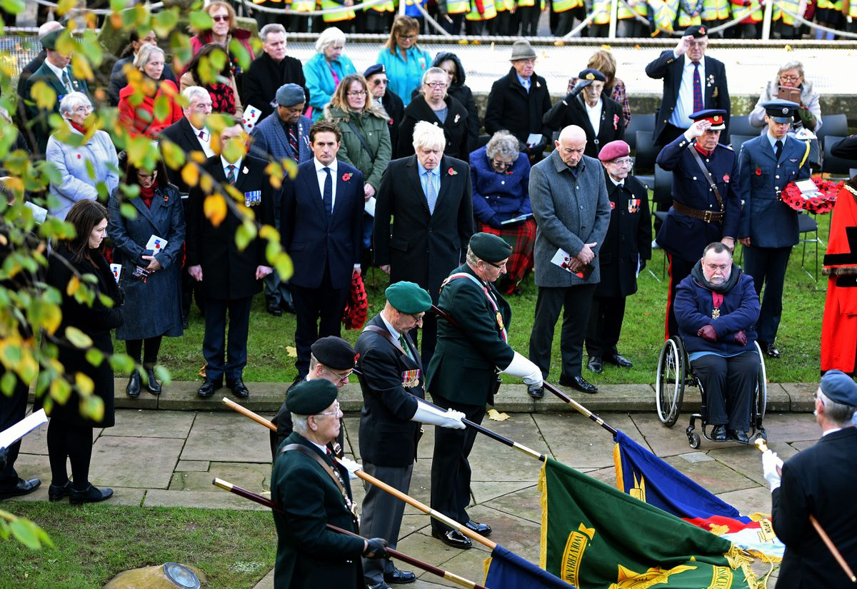 Boris Johnson at the Remembrance Day service in Wolverhampton