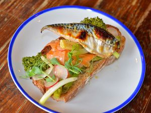 This light starter proved a hit – grilled mackerel fillet, escalivada salad, chilli, citrus dressing   and charred sourdough