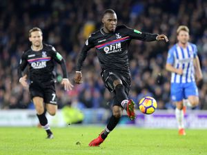 """Crystal Palace's Christian Benteke during the Premier League match at the AMEX Stadium, Brighton. PRESS ASSOCIATION Photo. Picture date: Tuesday November 28, 2017. See PA story SOCCER Brighton. Photo credit should read: Gareth Fuller/PA Wire. RESTRICTIONS: EDITORIAL USE ONLY No use with unauthorised audio, video, data, fixture lists, club/league logos or """"live"""" services. Online in-match use limited to 75 images, no video emulation. No use in betting, games or single club/league/player publications.."""