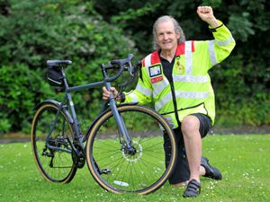 DUDLEY COPYRIGHT MNA MEDIA TIM THURSFIELD 12/07/21 .Geoff Granner from blood biking group Midland Freewheelers, is taking part in a few challenges, including cycling 200 miles, to raise money for the group..