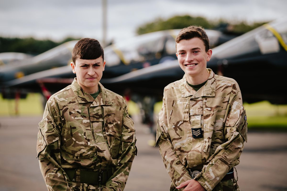 Harvey Fox and Alex Brown from Stourbridge at the RAF Air Cadets Anniversary event
