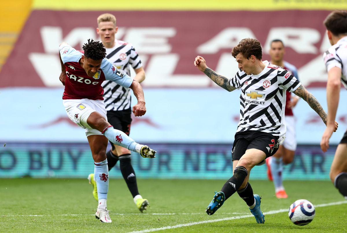 Aston Villa's Ollie Watkins has a shot on goal