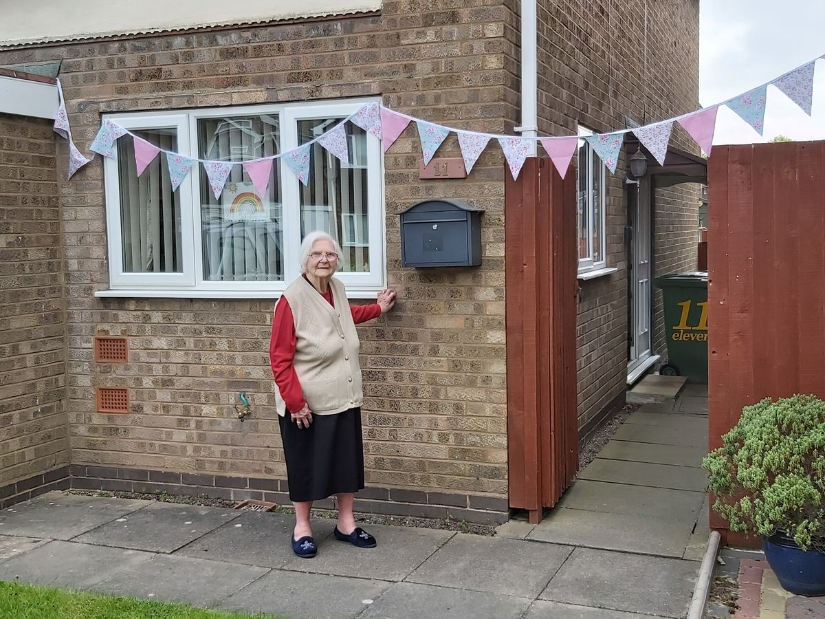 Elsie Partridge, 94, from Willenhall celebrating VE day