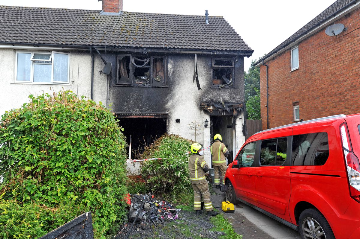 The aftermath of the fire in Harvest Road, Smethwick