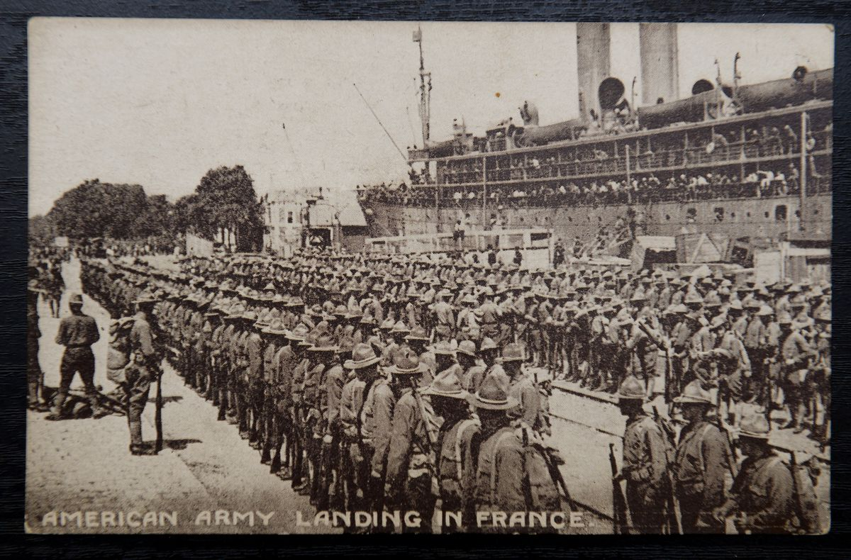 The American Army landing in France around 1917 is one of the older lots on sale