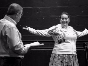 Ken Agnew as Charles Hart and Laura McLaurie as Nell Gwynn, in rehearsal. Picture: Emily White