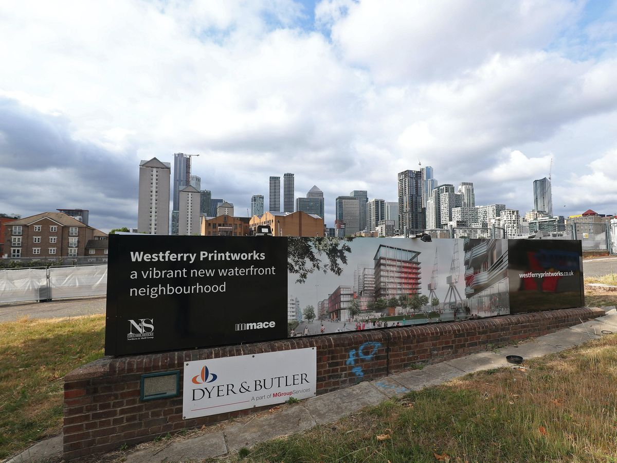 The Westferry Printworks site on the Isle of Dogs, east London