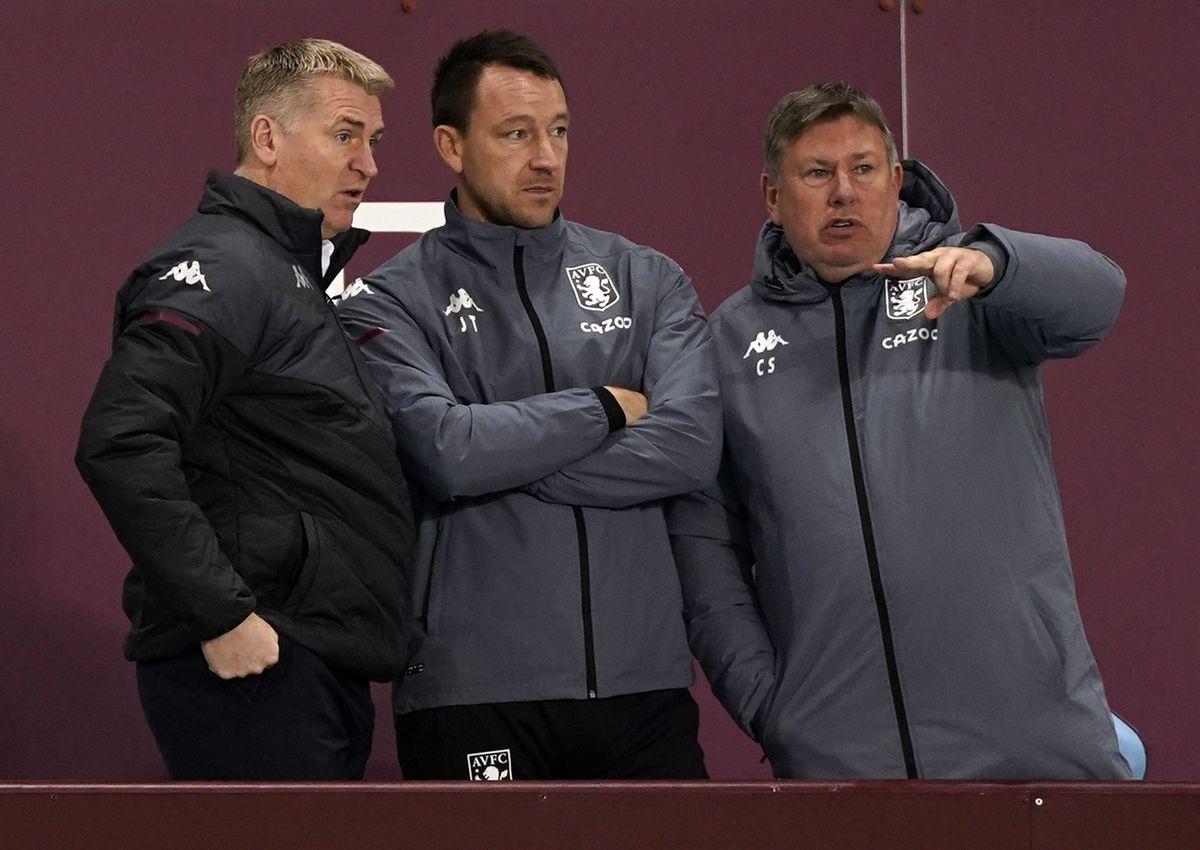 Aston Villa manager Dean Smith (left) with assistant John Terry and Craig Shakespeare (right)