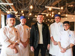 Stuart Deeley with students Lauren Yardley, Sam Clayton, Connor Pogson and Abi Kemmings