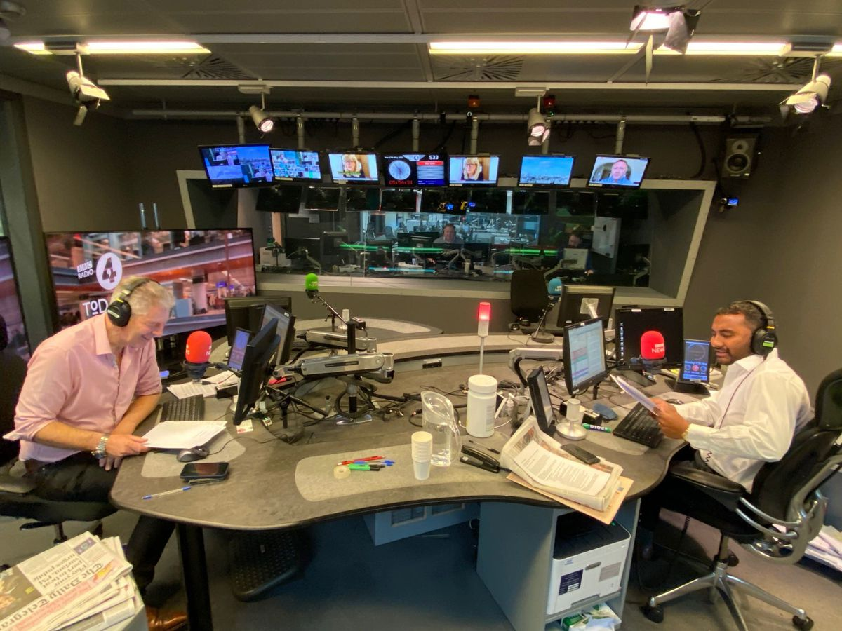 Amol Rajan making his debut on the Radio 4 current affairs programme, Today, with fellow presenter Justin Webb