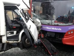 Smethwick high street blocked after van and bus crash leaves three injured