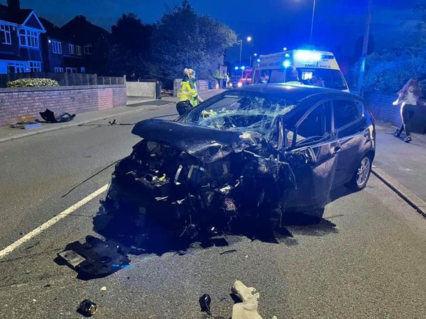 The car was involved in a collision on Dudley Road, in Sedgley. Photo: Dudley fire station
