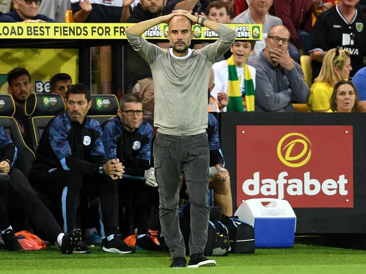 Manchester City manager Pep Guardiola witnessed a defensive horror show at Norwich