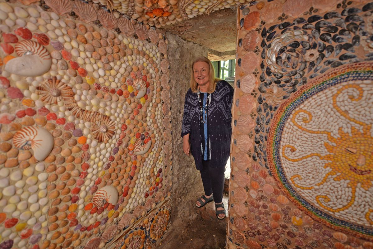 Anne Bailey is pictured inside the grotto