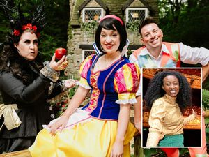 Lindsey Grant as Snow White, Will Phipps as the Director and Jess Brooks as the Witch. Inset: Beverley Knight..