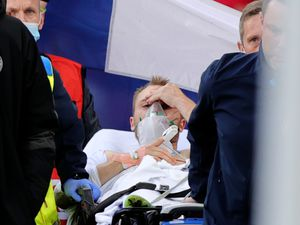 Denmark captain Christian Eriksen was awake as he left the pitch on a stretcher