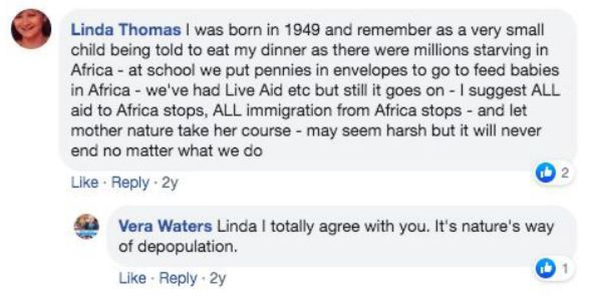 One of Vera Waters' comments on Facebook