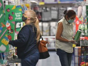 Shopper wearing a face masks