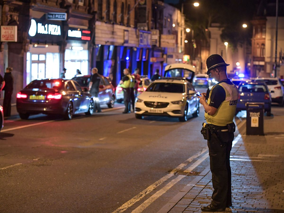 Police in Walsall town centre. Photo: SnapperSK