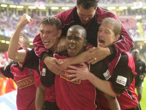 Walsall Chronicle 31 May 2001 Walsall v Reading at Cardiff  Darren Byfield celebrates his extra time winner with Matt Gadsby and Ian Brightwell