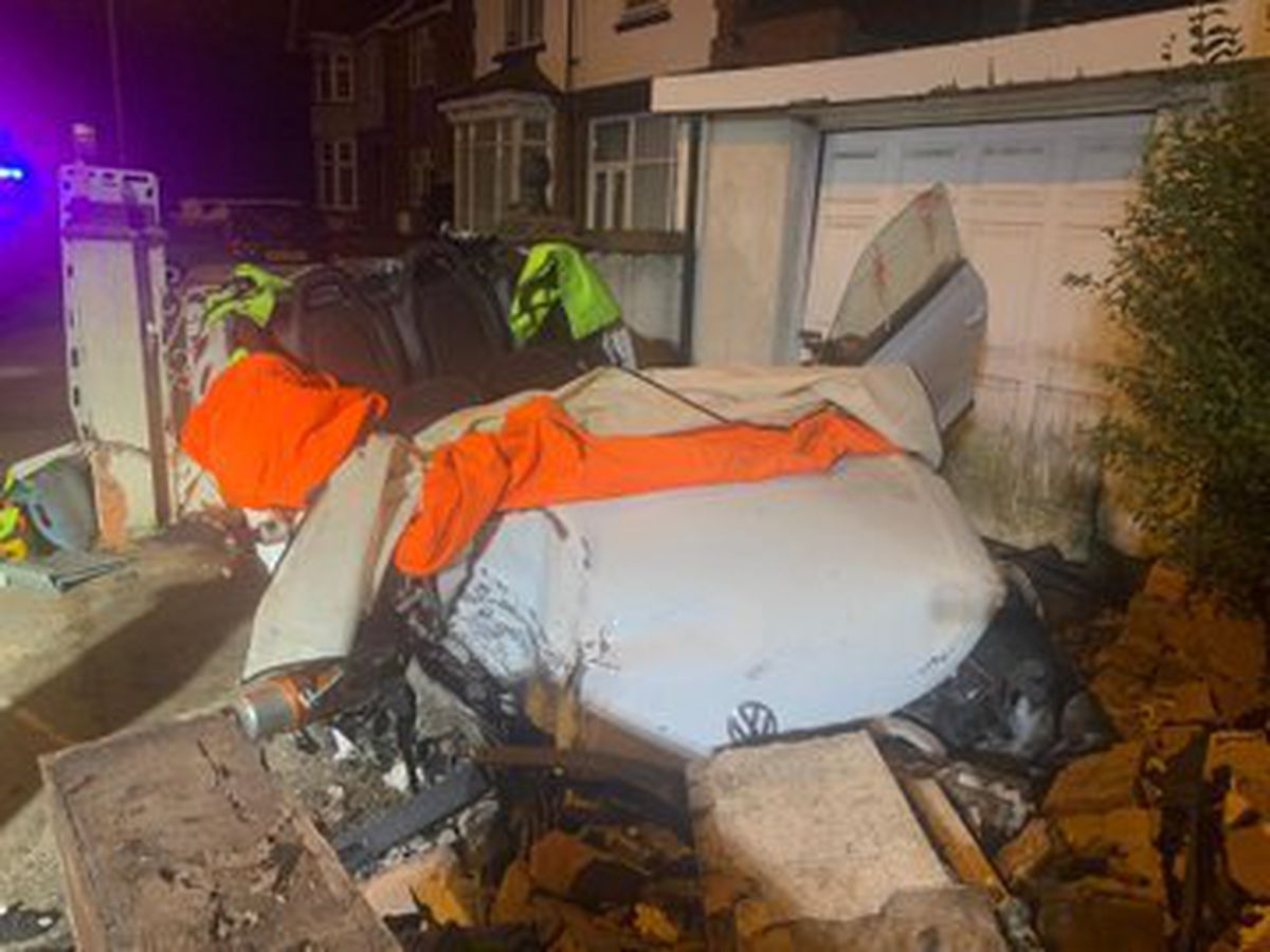 Dramatic photos from the scene show the roof removed from the Volkswagen after the smash. Photo: Bilston Fire
