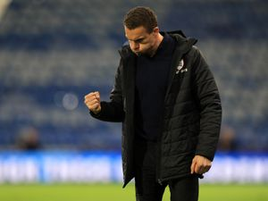 Barnsley manager Valerien Ismael celebrates victory on the touchline during the Sky Bet Championship match at the John Smith's Stadium, Huddersfield. Picture date: Wednesday April 21, 2021..