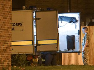 The Bomb Disposal Team at the scene in Wheafsheaf Road, Pendeford, last night. Picture: @SnapperSK