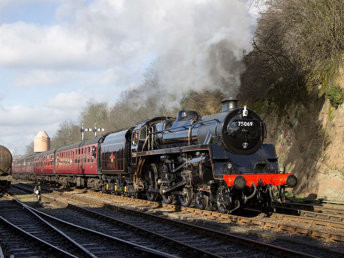 BR Standard 4 locomotive No. 75069 travelling in Bewdley. Photo: CG Wright
