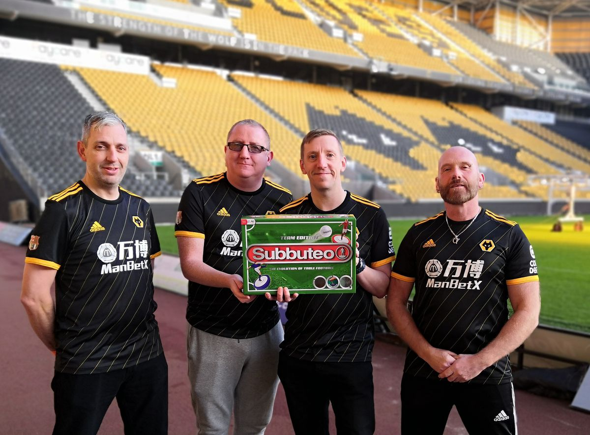 From left at Molineux: Richard Badger, Peter Sleeth, Justin Scott and Mick Hammonds