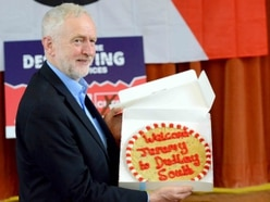 Jeremy Corbyn given giant cookie on return to the Black Country