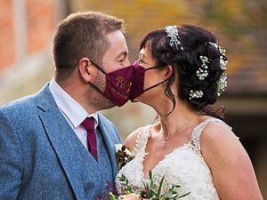 The couple had personalised masks on their wedding day and, inset, wearing their personalised masks. Pictures: Catherine Evans Photography